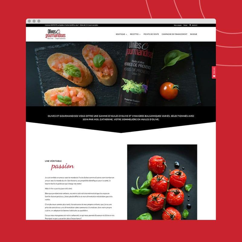 Olives et gourmandises - Un site web réalisé par Kaylynne Johnson