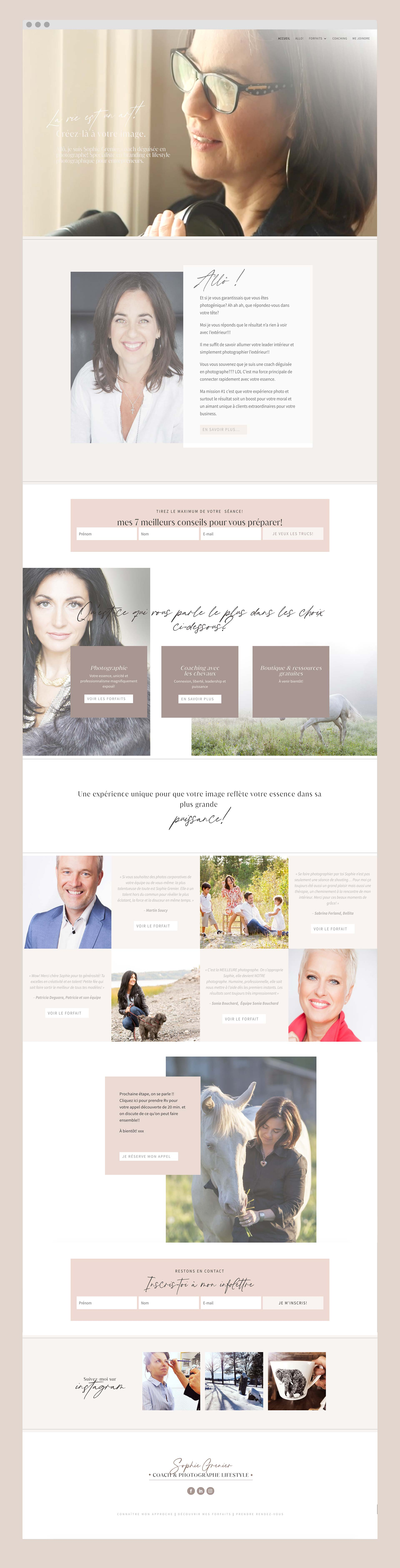 Sophie Grenier Photographe - Une réalisation de Kaylynne Johnson sites WordPress