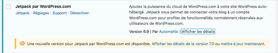 Mise à jour WordPress et extensions - afficher les détails