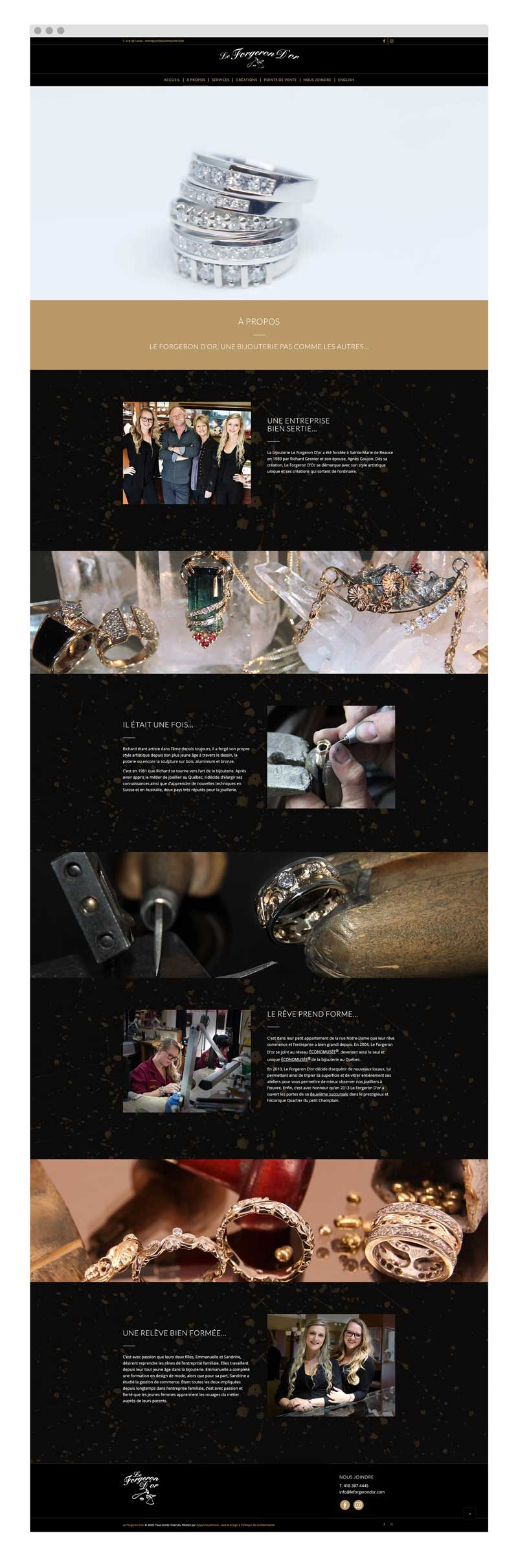 Le Forgeron D'or - Un site web réalisé par Kaylynne Johnson